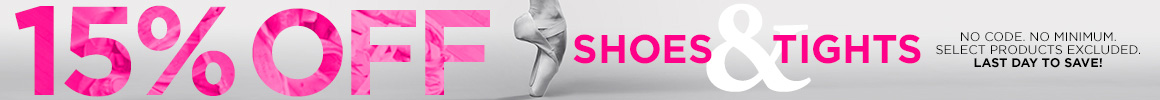 15% off select shoes and tights