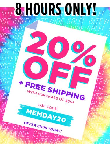ad - 20% off and free shipping on orders of $65 or more - use code MEMDAY20