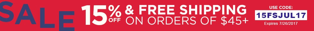 15% off and Free shipping on orders $45 or more
