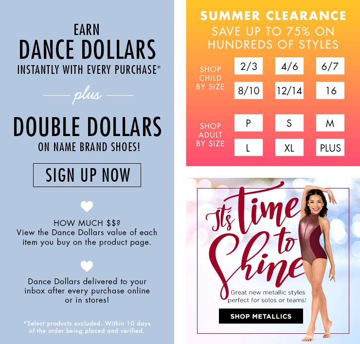 ads for the DDS reward program, clearance items, and metallics