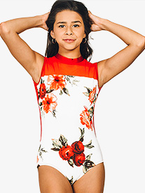 "Chelsea B Dancewear - Girls ""Destiny"" Mock Neck Floral Leotard"