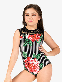 Chelsea B Dancewear - Girls Oversized Floral Stripe Tank Leotard