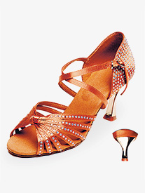 Stephanie - Womens Dark Tan Crystal Ballroom Shoes