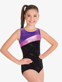 Body Wrappers - Girls Three-Tone Tank Gymnastics Leotard