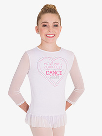 Body Wrappers - Girls MoveTECH Graphic 3/4 Sleeve Dance Top