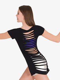 Body Wrappers - Womens Slashed Back Short Sleeve Dance Crop Top