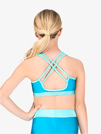 Anika - Girls X-Back Colorblock Tank Bra Top