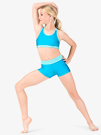 Anika - Girls Banded Leg Colorblock Dance Shorts