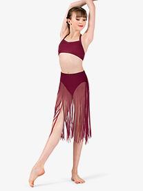 Body Wrappers - Girls Performance Sheer Mesh Fringe Skirt