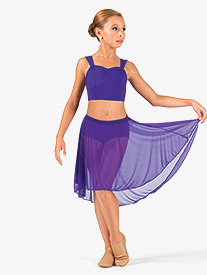 Body Wrappers - Child Mid Length High-Low Mesh Dance Skirt