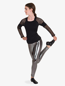 Body Wrappers - Womens Performance Metallic Mesh Long Sleeve Top