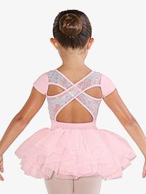 Bloch - Girls Floral Printed Mesh Short Sleeve Ballet Tutu Dress