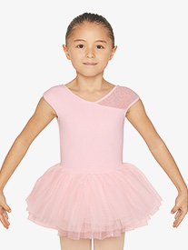 Bloch - Girls Asymmetrical Floral Mesh Cap Sleeve Ballet Tutu Dress