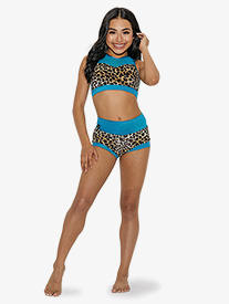 Kandi Kouture - Girls Velvet Leopard High Waist Dance Shorts