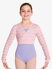 """Bloch - Girls """"Stefania"""" Textured Knit Long Sleeve Wrap Top"""
