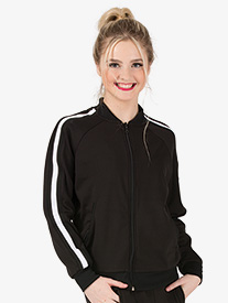 Dance Department - Womens Team Zip Up Long Sleeve Striped Jacket