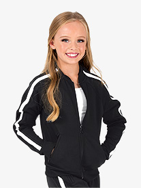 Dance Department - Girls Team Zip Up Long Sleeve Striped Jacket
