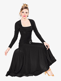 Dance America - Womens Square Neck Long Ballroom Dance Dress