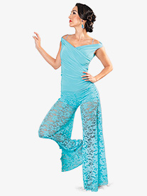Dance America - Womens Lace Ballroom Dance Palazzo Pants