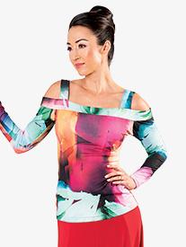 Dance America - Womens Open Shoulder Long Sleeve Ballroom Dance Top