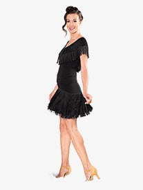 Dance America - Womens Fringe V-Front Short Sleeve Ballroom Dance Top