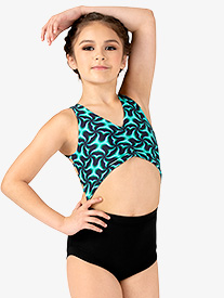 Dance to the Beach - Girls Emerald Print Tank Leotard