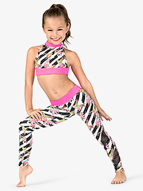 Dance to the Beach - Girls Floral Stripe Dance Leggings