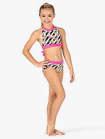 Dance to the Beach - Girls Floral Stripe Dance Briefs