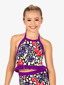 Dance to the Beach - Girls Ruffled Leopard Floral Dance Bra Top