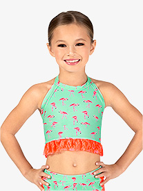 Dance to the Beach - Girls Flamingo Print Halter Dance Crop Top