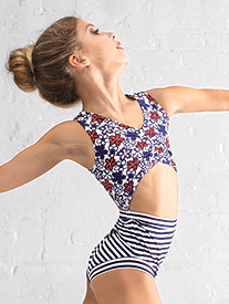 Dance to the Beach - Girls Nautical Stripe & Flower Tank Leotard