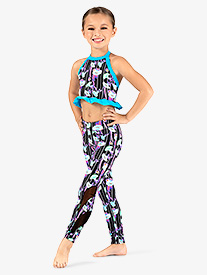 Dance to the Beach - Girls Neon Floral Print Dance Leggings
