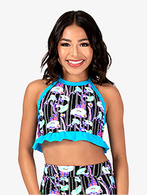 Dance to the Beach - Girls Neon Floral Print Halter Dance Crop Top