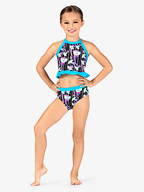 Dance to the Beach - Girls Neon Floral Print Dance Briefs