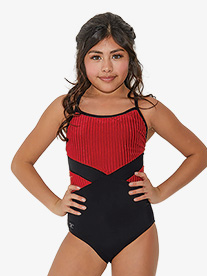 Kandi Kouture - Girls Striped Corduroy Camisole Leotard