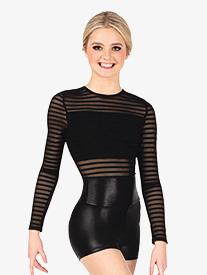 Double Platinum - Womens Performance Striped Mesh Long Sleeve Bodysuit