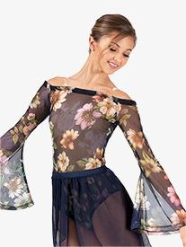 Double Platinum - Womens Performance Floral Mesh Long Sleeve Bodysuit