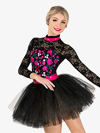 Elisse by Double Platinum - Womens Performance Flower Embroidery Tutu Dress