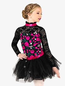 Elisse by Double Platinum - Girls Performance Flower Embroidery Tutu Dress