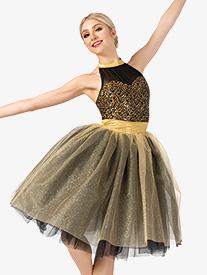 Elisse by Double Platinum - Womens Performance Two-Tone Romantic Tutu Dress
