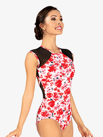Ella - Womens Floral Mesh Cap Sleeve Leotard