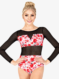 Ella - Womens Floral Mesh Long Sleeve Leotard