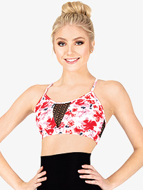 Ella - Womens Floral Camisole Dance Bra Top