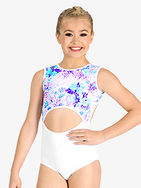 Ella - Girls Pastel Flowers Cutout Tank Leotard
