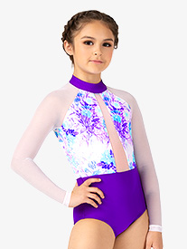 Ella - Girls Pastel Flowers Mesh Long Sleeve Leotard