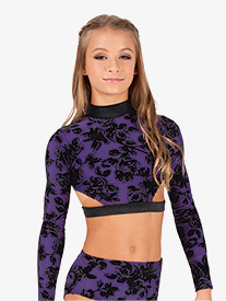 Ella - Girls Burnout Velvet Strappy Back Long Sleeve Dance Crop Top