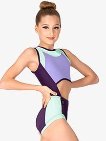 Kandi Kouture - Girls Colorblock Cutout Tank Leotard