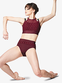 Bloch - Womens Diamond Mesh High Waist Dance Brief