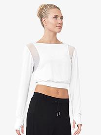 Bloch - Womens Mesh Panel Long Sleeve Dance Crop Top