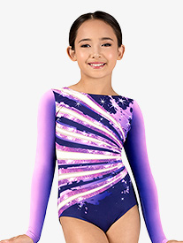 Perfect Balance - Girls Ombre Sparkle Sublimated Print Long Sleeve Gymnastics Leotard